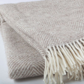 "Scandinavian style ""Boteh19""-100% natural,not colored Pure New wool throw with fringes, easy care, no synthetics wool bedspread"