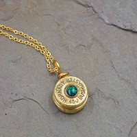 Brass Bullet Necklace with Opal