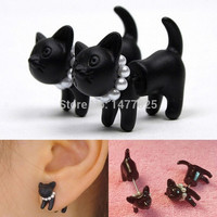 Hot! 1pc 2014 Fashion Cute Woman Lady Girl Black Cat Pearl Stud Earring Puncture Ear Jewelry = 1930060228