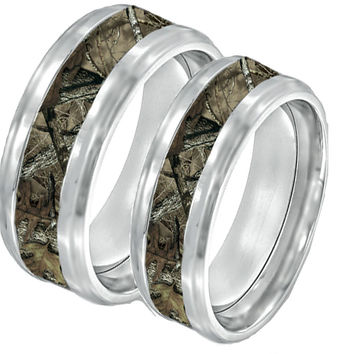 Camouflage On Silver Tungsten Couples Band Rings