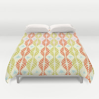 Retro Geometric Stripe with Blue Splats Duvet Cover by RunnyCustard Illustration