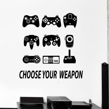 Vinyl Wall Decal Joysticks Gamepads Video Game Play Room Stickers (ig4287)