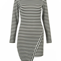 Striped Long Sleeve Bodycon Dress