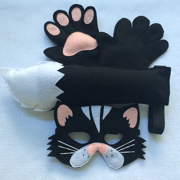 Children's Animal Black CAT Felt Costume Set Incluidng Mask, Tail and Matching Paws