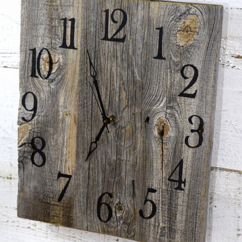 Rustic Barn Wood Wall Clock-15x15inch