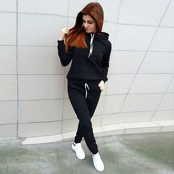 Autumn and winter hooded suit sweater