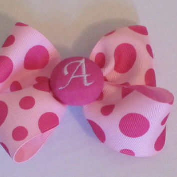 Hairbow Monogrammed Pink Polka Dots By Sweetpeas Bows & More