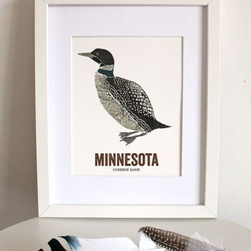 Common Loon // Minnesota State Bird, Nature Art Print, Nursery,Vintage Map, State Poster, Folk, Rustic, Outdoor, Country, Reproduction Print
