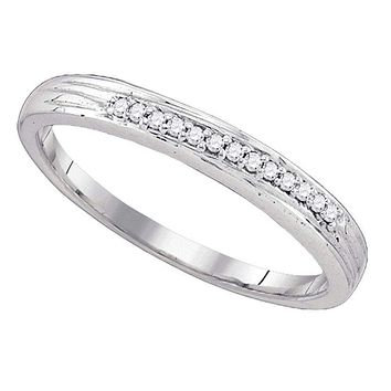 10k White Gold Round Pave-set Diamond Women's Simple Wedding Ring - FREE Shipping (US/CA)