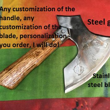 Stainless steel kitchen axe, kitchen hatchet, kitchen chopper, kitchen gift, kitchen gadgets,butcher knife,meat chopper,chef gift,viking axe