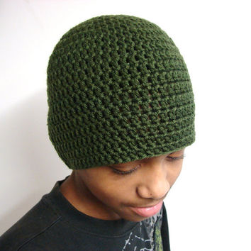 UniSex Skullcap Beanie Olive Green Mens Fitted Cap by MyHobbyShop