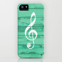 Hipster White Music Note Girly Turquoise Wood iPhone Case by Girly Trend
