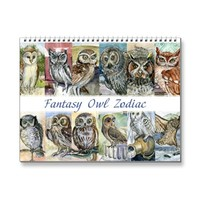Watercolor owls paintings zodiac fantasy 2015 | Zazzle