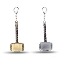 Marvel Avengers Thor's Hammer Keychain Mjolnir Model Zinc Alloy Keyring Toy Thor Key Chain Ring Men Jewelry Fans Accessories