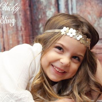 Metallic Flowers Bohemian Wedding Halo Headband