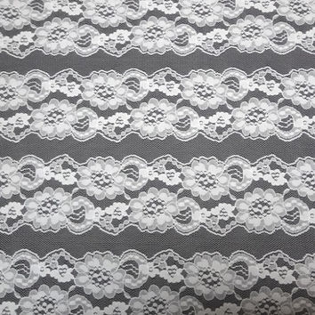 1 Yard Plus of White Cut Apart Lace, 39 x 15 Inches, Floral, 4 Rows of 3.5 In. Wide Lace, Bridal, Costume, Home Sewing Lace Trim Notions