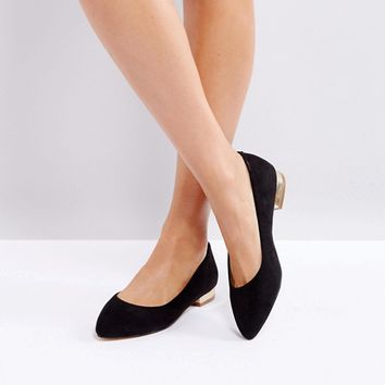 London Rebel Pointed Ballet Flats at asos.com