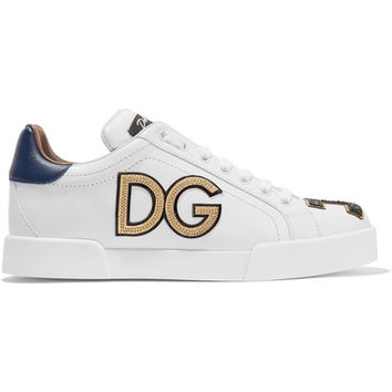 Dolce & Gabbana - Appliquéd leather sneakers