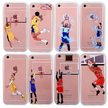 basketball phone case for iphone 6 cases silicone back cover for iphone 8 7 plus 5 5se 6s curry jordan kobe bryant wade  number 3