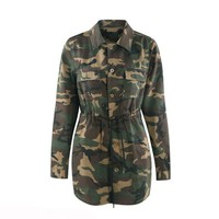 2018 New Fashion Casual Plus Size 4XL Women Coats Slim Lapel Camouflage Lace-Up Button Pocket Girls Simple Army Green Jackets