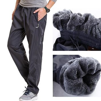 Fleece Thick Pants Men Outside Winter Pant Velvet Warm Straight Thermal Mens Wool Pants Heavyweight Zipper Trousers male joggers