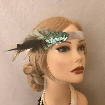 Flapper Art Deco Turquoise Grey Velvet Trim with Sequin Eye accent patch Multi-Color Brown Feather Headband 1920s Headpiece Gatsby (647)