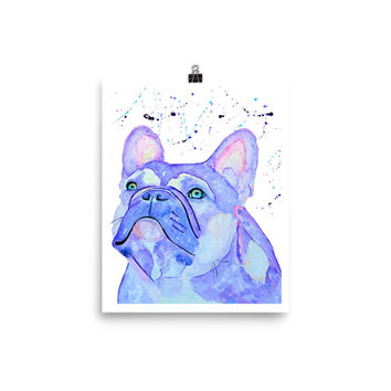 Lilac french bulldog, french bulldog print, custom pet portraits, frenchie, frenchie wall art, frenchie decor, animal gift for wife