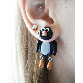 fake gauge plug two part earrings black penguin , Polymerclay, handmade