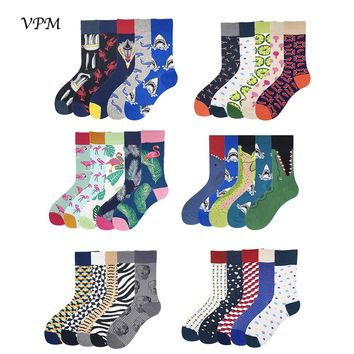 VPM Combed Cotton Men's Socks Colorful Funny Knee Long Warm Winter Cartoon Moustache Flamingo Shark Sock Gift Box 5 pairs / lot