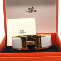 Auth Hermes White Enamel Gold Plated Clic Clac GM H Bracelet Bangle 17047498CK