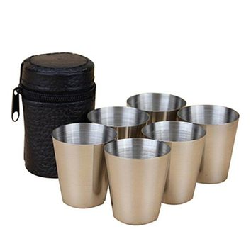6PCS Travel Outdoor Shots Set Stainless Steel Mini Glasses For Whisky Wine 30ml LH8s