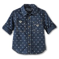 Infant Toddler Boys' Patterned Button Down Shirt - Dressy Blue