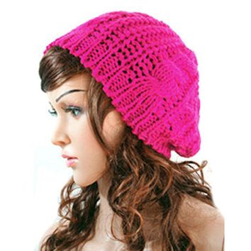 New Winter Women Lady Winter Warm Knitted  Hat  Crochet Slouch Baggy Beret Beanie Cap Women Autumn Bone Bonnet Gorro Y1 Q1