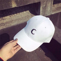 Men Women White Moon Hat Hip Hop Kpop Sport Curved Strapback Adjustable Baseball Cap