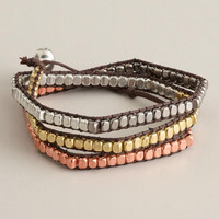 Gold, Silver and Rose Gold Bead Wrap Bracelet | World Market