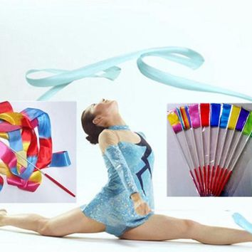 Colorful Dance Ribbon Gym Rhythmic Gymnastics Art Streamer Twirling Rod Outdoor Sport Games Kids Children Adult Toys Gifts