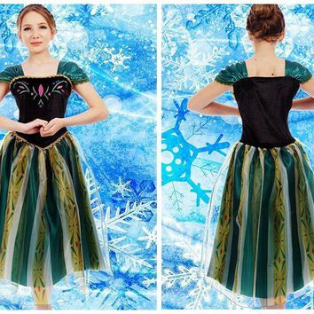 2017 New Elsa&Anna Birthday Fashion Ice Snow Queen Party Costume Cosplay Dress Adult Girls Snow White Princess,Free shipping