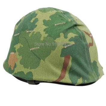 WWII US ARMY M1 GREEN HELMET -33556+VIETNAM WAR US MITCHELL REVERSIBLE HELMET COVER -31665