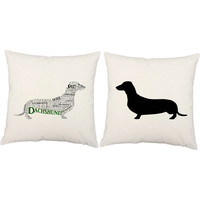 Set of 2 Typography Dachshund Dog Pillow Covers and or Cushions - Pet Pillow - Dog Silhouette Weiner Dog, Doxie - Puppy Room Decor