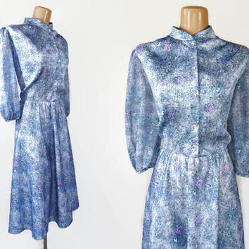 Vintage 70s Dress | 1970s Sheer Sleeve Dress | Fit and Flare Dress | Watercolor Floral Dress | Nehru Collar | Plus Size Vintage Dress | 18