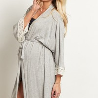 Black-Crochet-Trim-Delivery/Nursing-Maternity-Robe