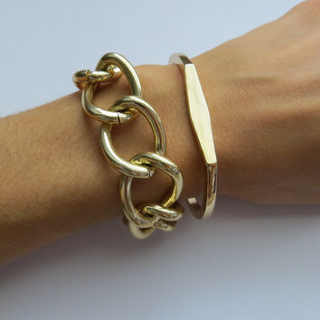 Gold Geo Cuff Bangle Bracelet - open style geometric jewelry