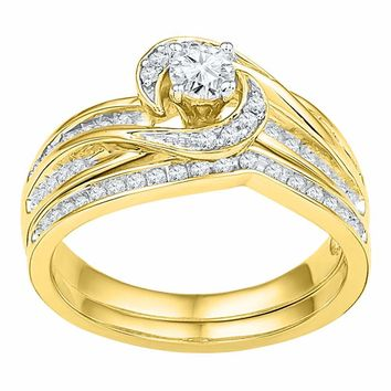 10k Yellow Gold Womens Round Diamond Swirl Bridal Wedding Engagement Ring Band Set 1/2 Cttw
