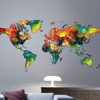 cik1816 Full Color Wall decal Watercolor World map Living room bedroom cabinet