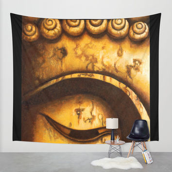 Buddha Eyes Diptych Wall Tapestry by Sumrow