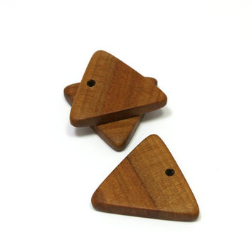 "Wooden pendants. Set of 2 triangle applewood charms. Size 1.2"" (30mm) Handmade natural wood  pendants. A7765"