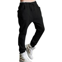 Allegra K Men Baggy Pockets Drawstring Elastic Waist Leisure Harem Pants W32/34