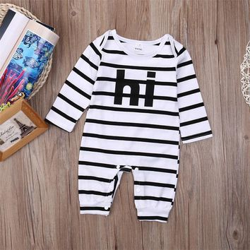 Newborn Baby Girl Boy Clothes Long Sleeve Striped Bodysuit Jumpsuit Playsuit Baby Autumn Cotton Outfits Clothes One Piece
