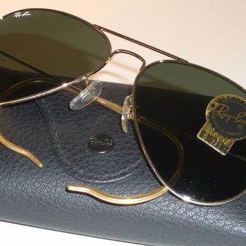 Cheap 58[]14mm RAY BAN ITALY G15 UV GOLD PLATED WRAP-AROUNDS AVIATOR SUNGLASSES MINT outlet