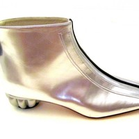 Chanel Boots - Patent Leather - Silver with Black Stripe - Size 37.5